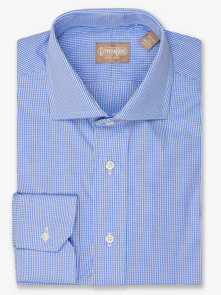 Mini Gingham Dress Shirt wwith Wide Spread Collar