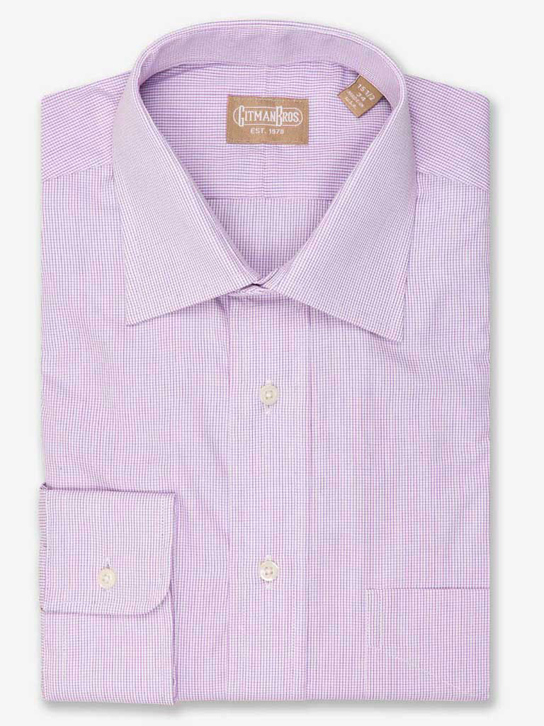 Mini Graph Check Dress Shirt with Medium Spread Collar