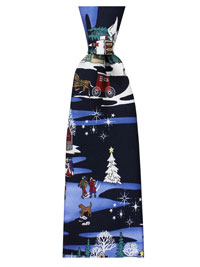 Tie-Navy Holiday Motif