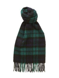 BLACK Lambswool Tartan Scarf by Hogarth