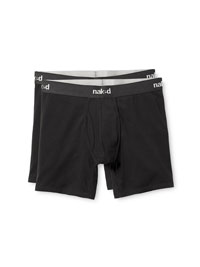 BLACK                          Naked Essential Boxer Brief (2-Pack)