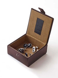 BROWN Leather Cufflink & Collar Stay Travel Case