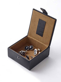 BLACK Leather Cufflink & Collar Stay Travel Case