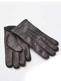 BROWN LEATHER PIN TUCK GLOVES