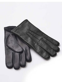 BLACK LEATHER PIN TUCK GLOVES