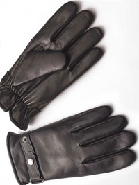 BROWN LEATHER SNAP GLOVES