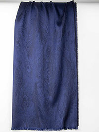 BLUE Feather Design Cashmere Scarf By Tom James
