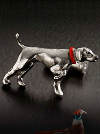 SILVER Pointer Dog Hand Painted Cufflinks