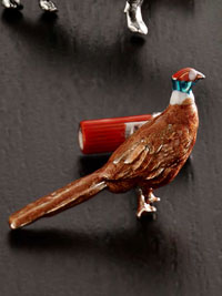 BROWN Pheasant  Hand Painted Cufflinks