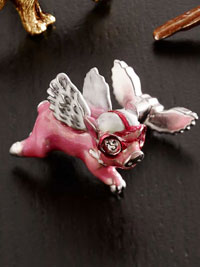 PINK Flying Pig Hand Painted Cufflinks
