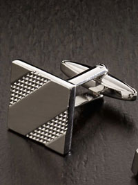 SILVER Etched Square Cufflinks