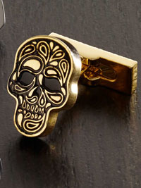 GOLD Robert Graham Skull Cufflinks