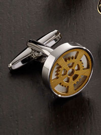 SILVER Steampunk Gear Cufflinks
