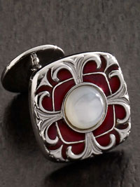 RED Mother of Pearl Scroll Cufflinks