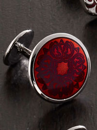 RED Domed Floral Cufflinks