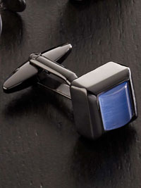 BLUE Fiber Optic Square Cufflinks
