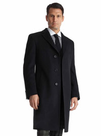 BLACK Wool/Cashmere Topcoat by Tom James