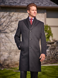 CHARCOAL Wool/Cashmere Topcoat by Tom James