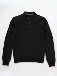 BLACK                          Long Sleeve Polos by Tom James