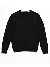 BLACK                          V-Neck Merino Wool Knit by Tom James