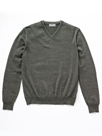 GRAY                           V-Neck Merino Wool Knit by Tom James