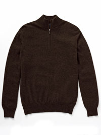 BROWN Cashmere 1/4 Zip Mock Sweater  by Tom James