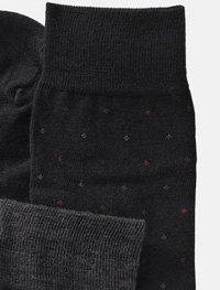 BLACK Over-The-Calf Wool Dot Socks