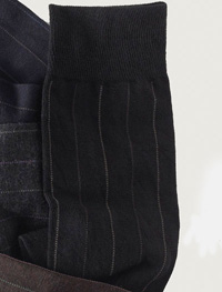 BLACK Over-The-Calf Wool Stripe Socks
