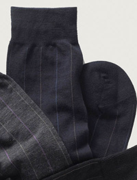 NAVY Over-The-Calf Wool Stripe Socks