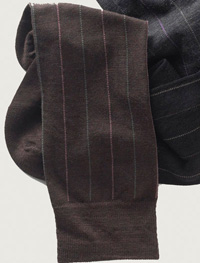 BROWN Over-The-Calf Wool Stripe Socks