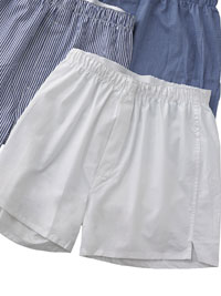 WHITE Cotton Boxer Shorts