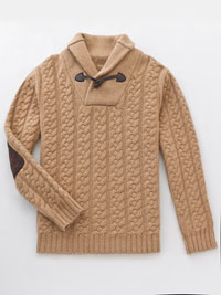 CAMEL Shawl Collar Cable Knit Sweater by Tom James