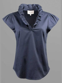 NAVY Ruffled Collar Blouse by Elizabeth McKay