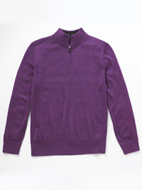 LILAC 1/4 Zip Mock Sweater  by Tom James