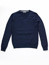 BLUE                           V-Neck Merino Wool Knit by Tom James