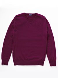RASPBERRY Cashmere V-Neck Sweater by Tom James