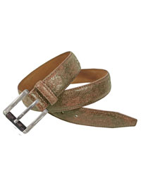 BROWN Paisley Embossed Leather Belt By Robert Graham