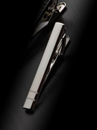 SILVER Double Lined Tie Bar By Tom James