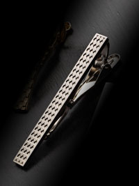 SILVER Chess Pattern Tie Bar By Tom James