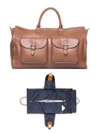 BROWN Leather Garment Weekender by Hook & Albert