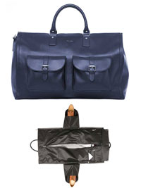 BLUE Leather Garment Weekender by Hook & Albert