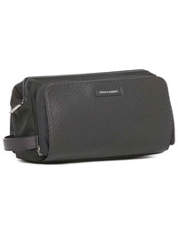 BLACK perforated leather dopp kit by Hook & Albert
