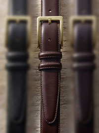 COGNAC Leather Dress Belt