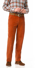 RUST Flat Front Cord Trouser