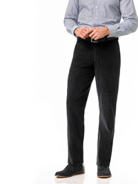BLACK Flat Front Cord Trouser