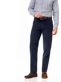 NAVY Flat Front Cord Trouser