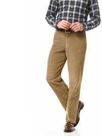 TAN Flat Front Cord Trouser