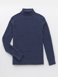 NAVY Cable Knit Turtle Neck Sweater by Tom James