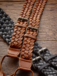 TAN FANCY BRAIDED LEATHER BRACES BY THE BRITISH BELT COMPANY