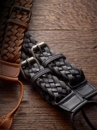 BLACK FANCY BRAIDED LEATHER BRACES BY THE BRITISH BELT COMPANY